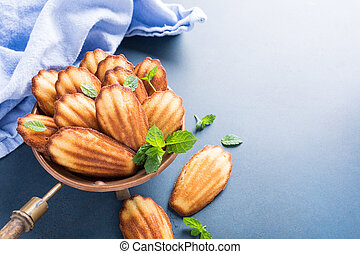 Homemade anise cookies Madeleine with mint on blue...
