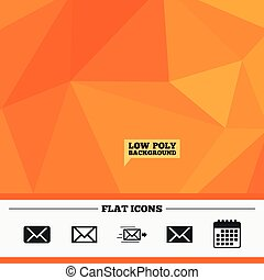 Mail envelope icons. Message symbols. - Triangular low poly...
