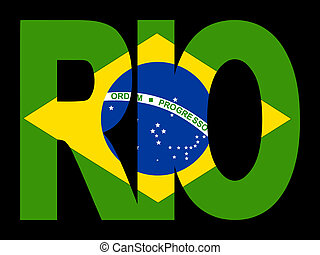 Rio text with Brazilian flag - overlapping Rio text with...