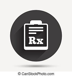 Medical prescription Rx sign icon Pharmacy - Medical...