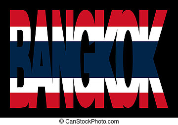 Bangkok text with Thai flag - overlapping Bangkok text with...