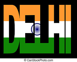 Delhi text with Indian flag