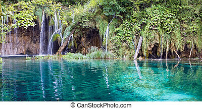 Waterfall - Beautiful waterfall and lake with blue water
