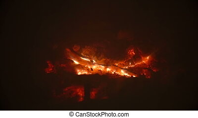 Closeup of beautiful glowing embers at fireplace