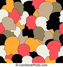 Seamless pattern of a crowd of many different people profile...