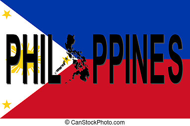 Philippines text with map on flag illustration