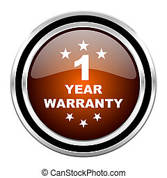 warranty guarantee 1 year round circle glossy metallic...