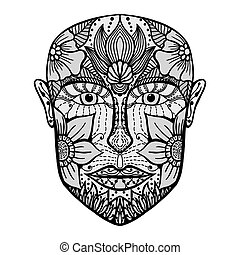 man face of flowers. Coloring book page for adult. Vector...