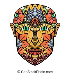 man face of flowers Coloring book page for adult Vector...