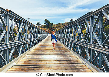 Famous truss bridge over Aradena Gorge, Crete Island, Greece
