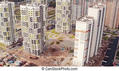 Flying Above Multi-storey Unfinished Building, aerial view
