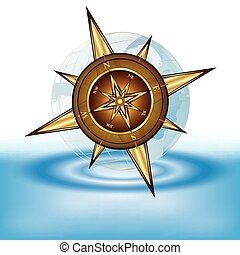 Gold compass and transparent earth on water, eps10 vector...