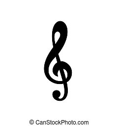 Illustration of a black clef isolated