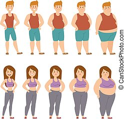 Fat cartoon people different stages vector illustration -...