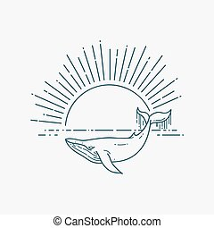 Modern flat linear vector illustration with Whale and...