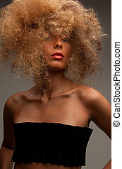 lovely woman with fasionable hair - picture of lovely woman...