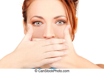 silence - bright picture of teenage girl with hands over...