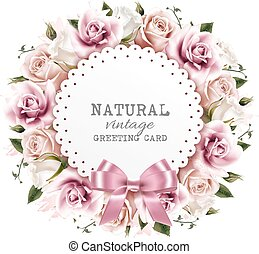 Flower background made out of pink and white flowers with a ribbon. Vector.