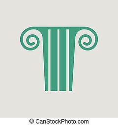 Antique column icon. Gray background with green. Vector...