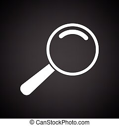 Loupe icon. Black background with white. Vector...