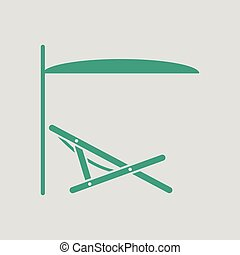 Sea beach recliner with umbrella icon. Gray background with...