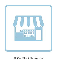 Tent shop icon. Blue frame design. Vector illustration.