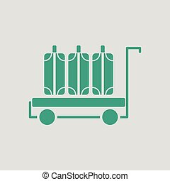 Luggage cart icon. Gray background with green. Vector...