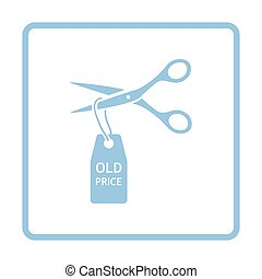 Scissors cut old price tag icon. Blue frame design. Vector...