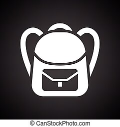 School rucksack icon. Black background with white. Vector...