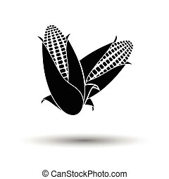Corn icon. White background with shadow design. Vector...