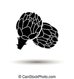 Artichoke icon. White background with shadow design. Vector...
