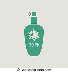 Sun protection spray icon. Gray background with green....