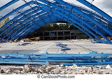 Metal Frame on Construction Site - Deconstraction site of...