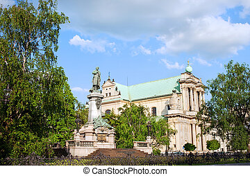 Carmelite Church and Adam Mickiewicz Statue in Warsaw - 17th...