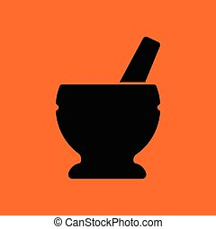 Mortar and pestle icon. Orange background with black. Vector...