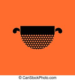 Kitchen colander icon. Orange background with black. Vector...