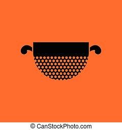 Kitchen colander icon. Orange background with black. Vector...