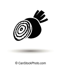 Beetroot icon. White background with shadow design. Vector...