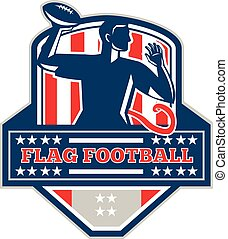 Flag Football QB Player Passing Ball Crest Retro -...