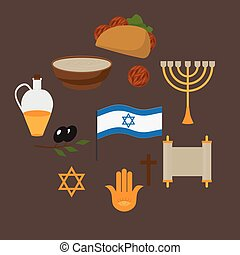 Set of jewish traditional symbols and food, israel religios...