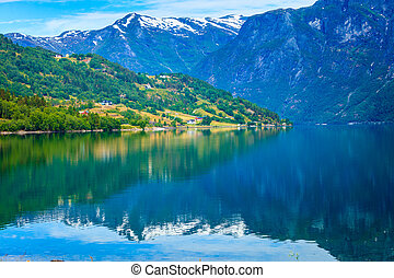 Mountains and fjord in Norway, - Tourism vacation and travel...
