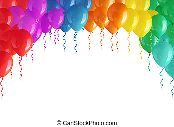 Arch of colored balloons isolated on a white background