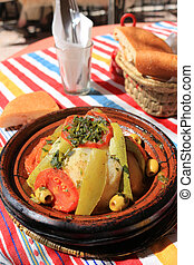 Moroccan tajine chicken dinner - Outdoor restaurant dinner...