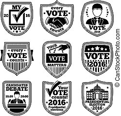 Vector set of vote labels. For presidential election, debates, ads etc.