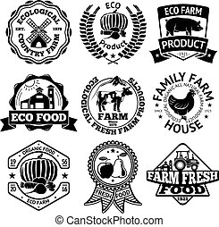 Farm food vector labels set, with mill, vegetables, pig,  house, cow, chicken, fruits, tractor.