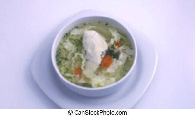 easy chicken soup, close up - light soup with white meat...