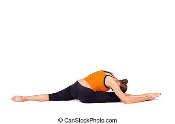 Fit Woman Practicing Yoga Stretching Exercise - Woman...