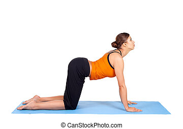 Woman Practicing Yoga Asana - Fit woman doing yoga exercise...