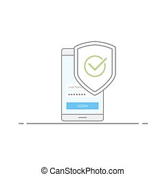 Concept of Mobile security. Shield image with a green check mark in the phone background. Protection against viruses and malware. Vector illustration in linear style isolated on white background.