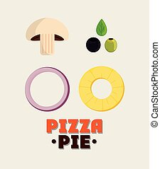 Ingredient of Pizza pie design - mushroom olive onion...